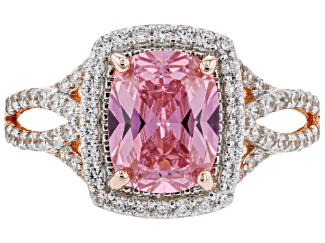 Pink and White Cubic Zirconia 18k Rose Gold Over Sterling Silver Ring 3.21ctw