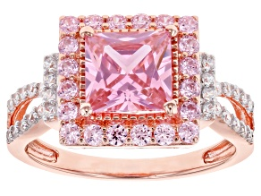 Pink and White Cubic Zirconia 18k Rose Gold Over Sterling Silver Ring 4.05ctw