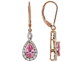 Pink and White Cubic Zirconia 18k Rose Gold Over Sterling Silver Earrings 3.63ctw