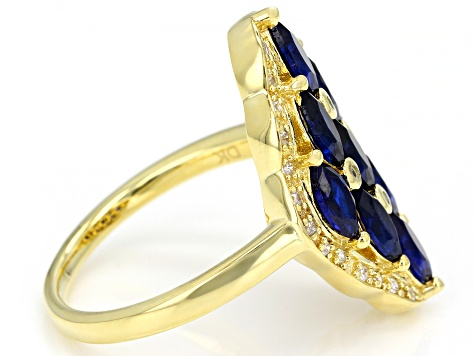 Blue and White Cubic Zirconia 18K Yellow Gold Ring Over Sterling Silver Ring 2.40ctw