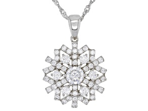 White Cubic Zirconia Rhodium Over Sterling Silver Snowflake Pendant With Chain 2.99ctw