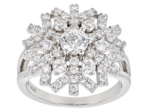White Cubic Zirconia Rhodium Over Sterling Silver Snowflake Ring 2.99ctw