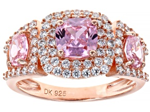 Pink and White Cubic Zirconia 18k Rose Gold Over Sterling Silver Ring 3.88ctw