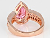 Pink and White Cubic Zirconia 18k Rose Gold Over Sterling Silver Ring 6.13ctw