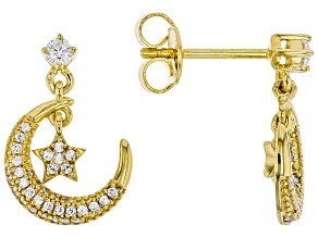 White Cubic Zirconia 18k Yellow Gold Over Sterling Silver Moon and Star Earrings 0.62ctw