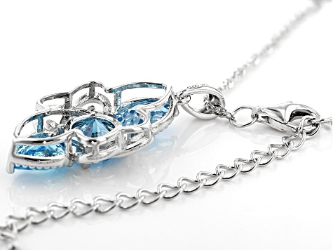 Blue Cubic Zirconia Rhodium Over Sterling Silver Pendant With Chain 5.76ctw