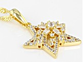 White Cubic Zirconia 18k Yellow Gold Over Sterling Silver Star Pendant With Chain 1.08ctw