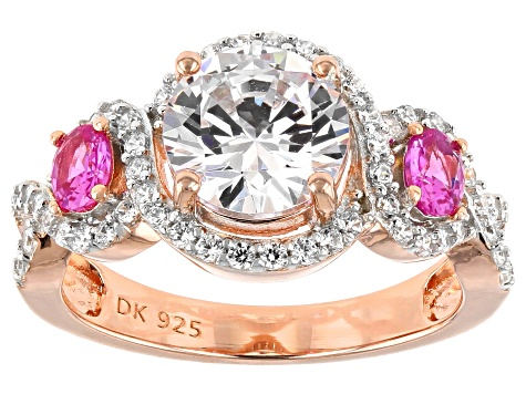 Lab Created Pink Sapphire and White Cubic Zirconia 18k Rose Gold Over Silver Ring 4.50ctw