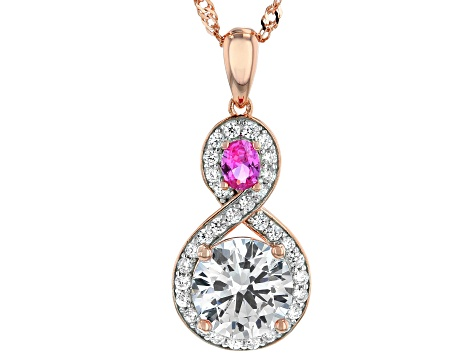 Lab Created Pink Sapphire & Cubic Zirconia 18k Rose Gold Over Silver Pendant With Chain 4.15ctw