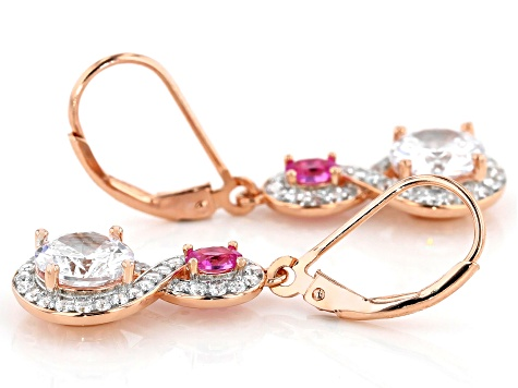 Lab Created Pink Sapphire & White Cubic Zirconia 18k Rose Gold Over Sterling Silver Earrings 5.64ctw