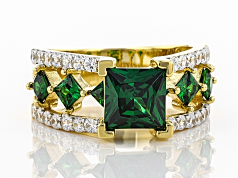 Green and White Cubic Zirconia 18k Yellow Gold Over Sterling Silver Ring 5.29ctw