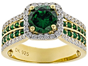 Green and White Cubic Zirconia 18k Yellow Gold Over Sterling Silver Ring 4.21ctw