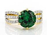 Green and White Cubic Zirconia 18k Yellow Gold Over Sterling Silver Ring 7.50ctw