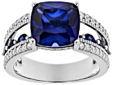 Lab Created Blue Sapphire And White Cubic Zirconia Rhodium Over Sterling Silver Ring 7.24ctw