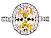 Canary and White Cubic Zirconia Rhodium Over Sterling Silver Ring 4.23ctw