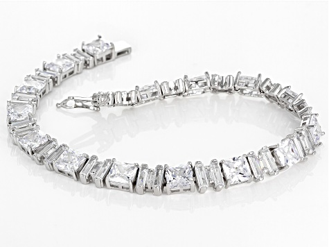 White Cubic Zirconia Rhodium Over Sterling Silver Tennis Bracelet 50.20ctw