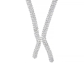 White Cubic Zirconia Rhodium Over Sterling Silver Necklace 46.00ctw