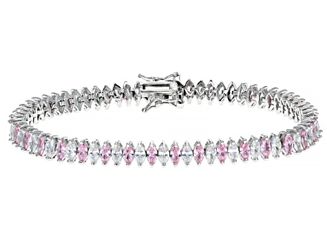 Pink And White Cubic Zirconia Rhodium Over Sterling Silver Tennis Bracelet 12.92ctw