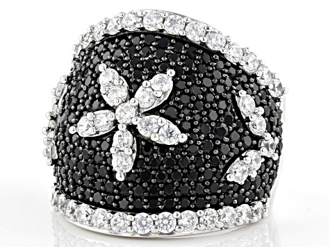 Black Spinel and White Cubic Zirconia Rhodium Over Sterling Silver Ring 5.70ctw