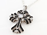 Black Spinel and White Cubic Zirconia Rhodium Over Sterling Pendant With Chain 3.29ctw