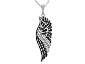 Black Spinel and White Cubic Zirconia Rhodium Over Sterling Silver Pendant With Chain 1.55ctw