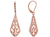 White Cubic Zirconia 18k Rose Gold Over Sterling Silver Earrings 0.72ctw