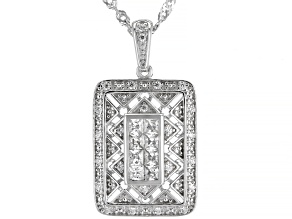 White Cubic Zirconia Rhodium Over Sterling Silver Pendant With Chain 0.81ctw