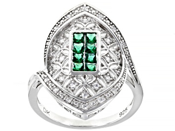 Picture of Green and White Cubic Zirconia Rhodium Over Sterling Silver Ring 0.55ctw