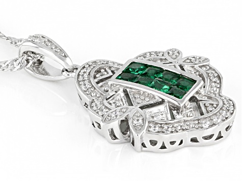 Green and White Cubic Zirconia Rhodium Over Sterling Silver Pendant With Chain 0.46ctw