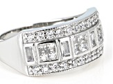 White Cubic Zirconia Platinum Over Sterling Silver Ring 1.36ctw