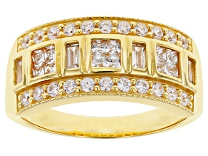 White Cubic Zirconia 18K Yellow Gold Over Sterling Silver Ring 1.36ctw