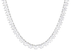 White Cubic Zirconia Rhodium Over Sterling Silver Tennis Necklace 87.35ctw