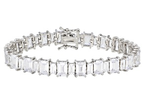 White Cubic Zirconia Rhodium Over Sterling Silver Tennis Bracelet 37.69ctw