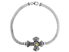 Rhodium Over Sterling Silver Cross Bracelet
