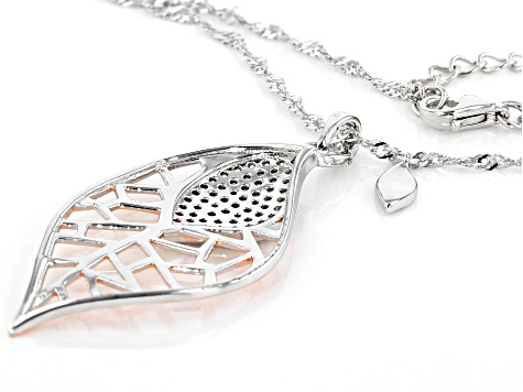 White Cubic Zirconia Rhodium Over Sterling and 18k Rose Gold Over Sterling Leaf Pendant With Chain