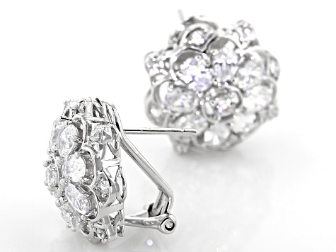 White Cubic Zirconia Rhodium Over Sterling Silver Earrings 4.66ctw