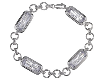 Picture of White Cubic Zirconia Rhodium Over Sterling Silver Bracelet 22.64ctw