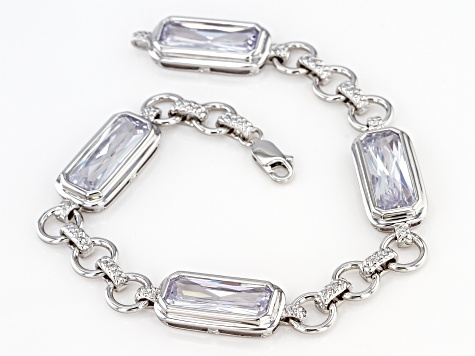 White Cubic Zirconia Rhodium Over Sterling Silver Bracelet 22.64ctw