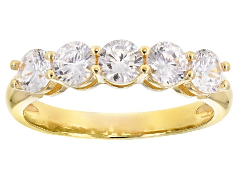 White Cubic Zirconia 18K Yellow Gold Over Sterling Silver Band Ring 2.25ctw