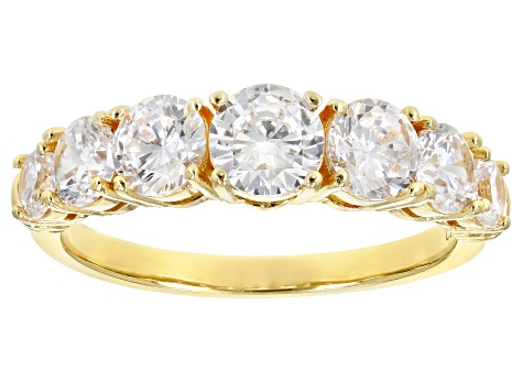 White Cubic Zirconia 18K Yellow Gold Over Sterling Silver Band Ring 3.52ctw