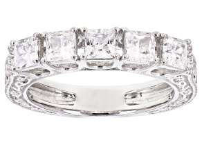White Cubic Zirconia Rhodium Over Sterling Silver Band Ring 2.25ctw