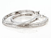 White Cubic Zirconia Rhodium Over Sterling Silver Hoop Earrings 1.17ctw