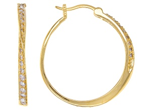 White Cubic Zirconia 18K Yellow Gold Over Sterling Silver Hoop Earrings 1.17ctw