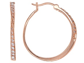 White Cubic Zirconia 18K Rose Gold Over Sterling Silver Hoop Earrings 1.17ctw