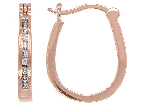 White Cubic Zirconia 18K Rose Gold Over Sterling Silver Hoop Earrings 0.48ctw