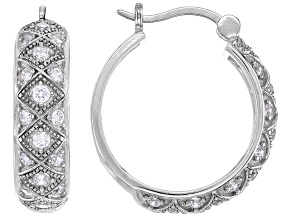 White Cubic Zirconia Rhodium Over Sterling Silver Hoop Earrings 1.69ctw