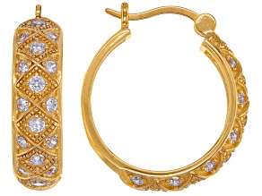 White Cubic Zirconia 18K Yellow Gold Over Sterling Silver Hoop Earrings 1.69ctw