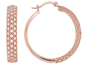 White Cubic Zirconia 18K Rose Gold Over Sterling Silver Hoop Earrings 1.54ctw