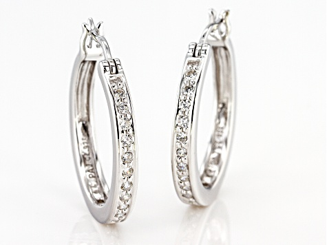 White Cubic Zirconia Rhodium Over Sterling Silver Hoop Earrings 0.81ctw
