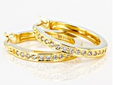 White Cubic Zirconia 18K Yellow Gold Over Sterling Silver Hoop Earrings 0.81ctw